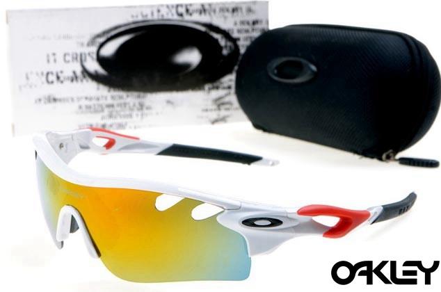 oakley radarlock path sunglasses in white and fire iridium for sale