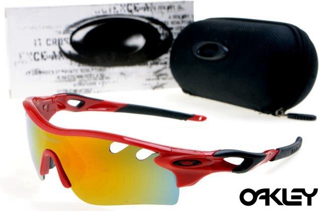 oakley radarlock path sunglasses in polished red and fire iridium