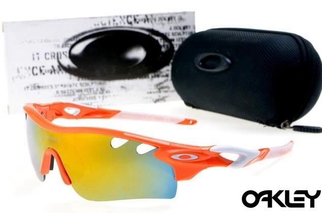 oakley radarlock path sunglasses in orange flare and fire iridium