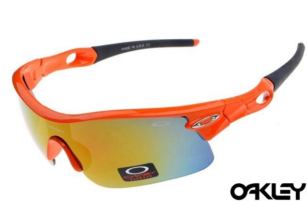 oakley radar pitch sunglasses in orange flare and fire iridium