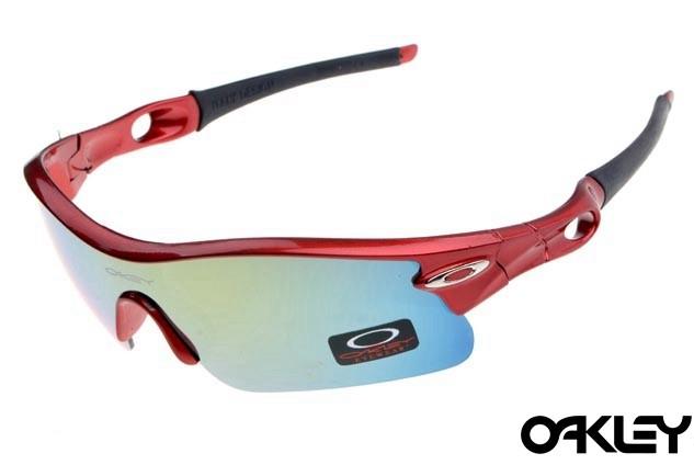 oakley radar pitch sunglasses in red metallic and ice iridium