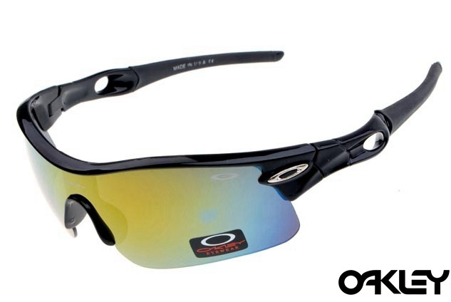 oakley radar pitch sunglasses in polished black and fire iridium