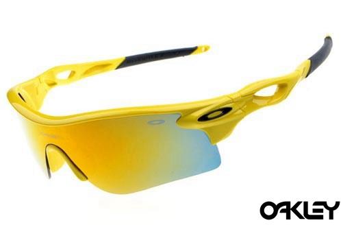 oakley radarlock sunglasses in neon yellow and fire iridium