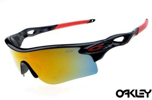 oakley radarlock sunglasses in polished black and fire iridium for sale