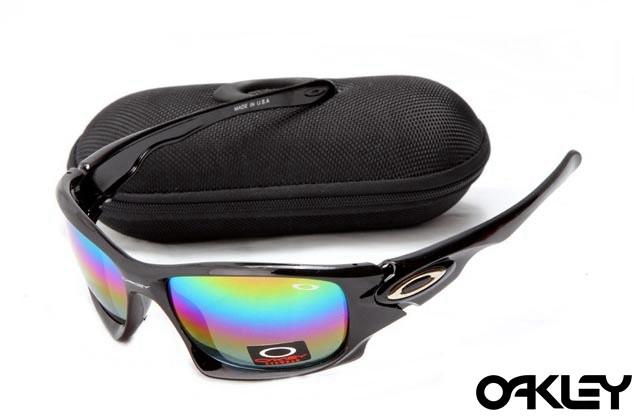 Oakley ten sunglasses in polished black and colorful iridium