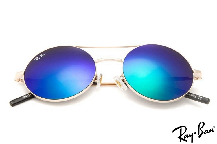 Ray Ban RB3813 Round Metal Sunglasses Gold