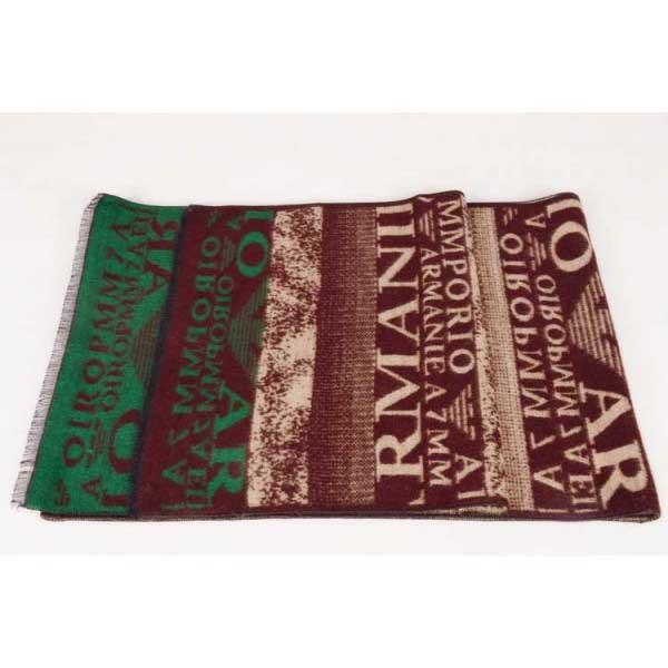 Armani wool scarf brown / green logo