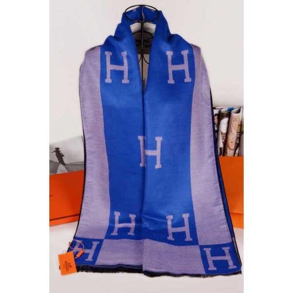 Hermes cashmere scarf blue / gray