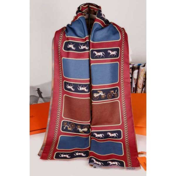 Hermes cashmere scarf dark red