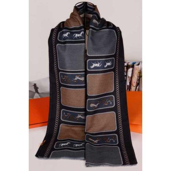Hermes cashmere scarf black