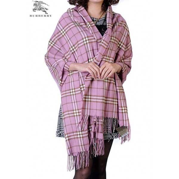 Burberry check merino wool cashmere wrap pink