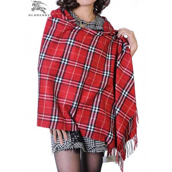 Burberry check merino wool cashmere red wrap