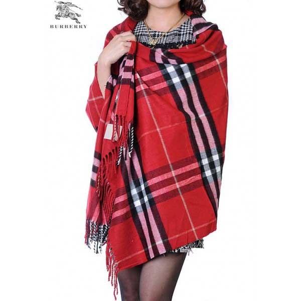 Burberry check merino wool cashmere wrap carmine