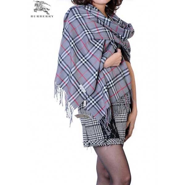Burberry check merino wool cashmere wrap dark blue