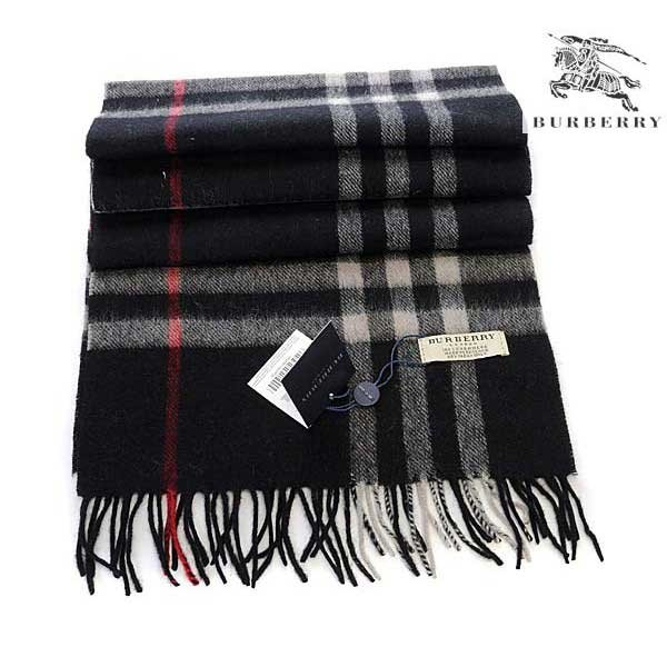 Burberry check wool cashmere scarf black