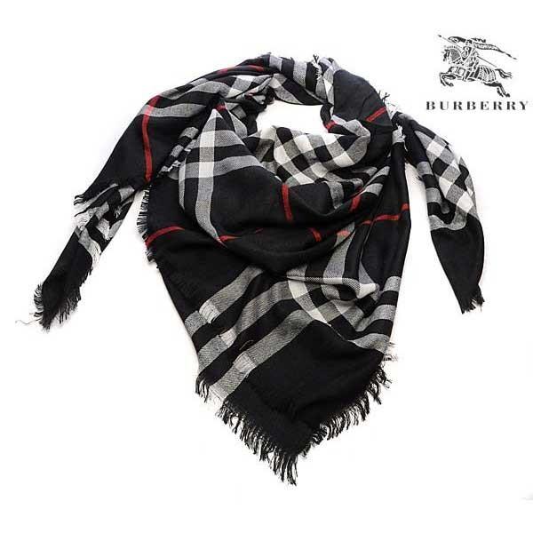 Burberry check merino wool square scarf black