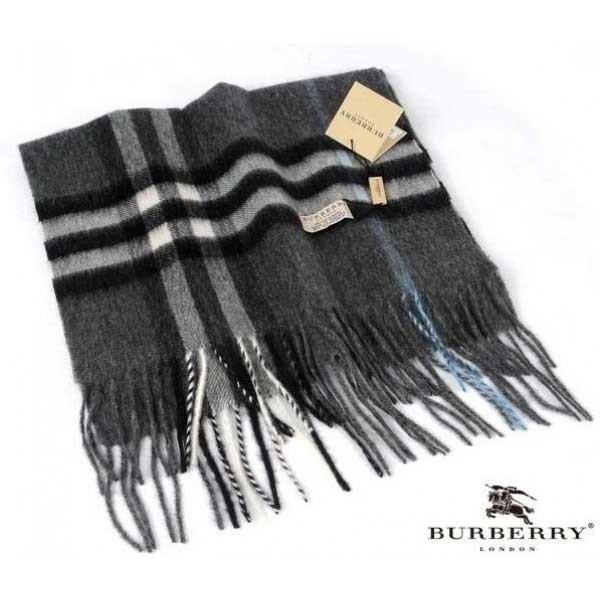Burberry gray with black / white stripe check cashmere scarf