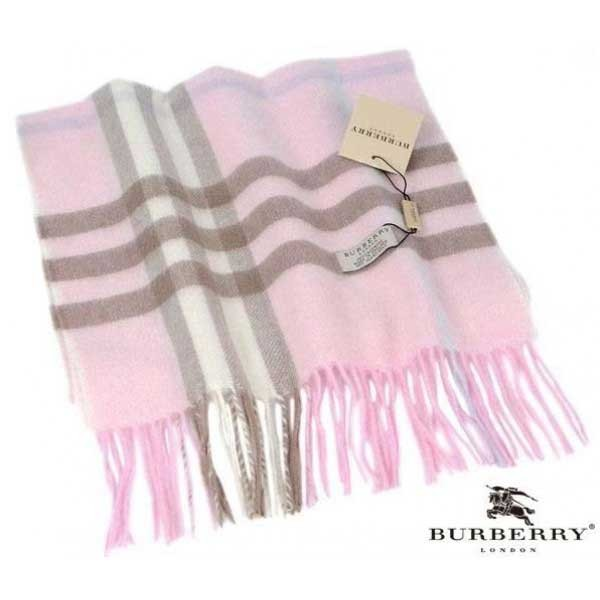 Burberry pink with gray / white stripe check cashmere scarf