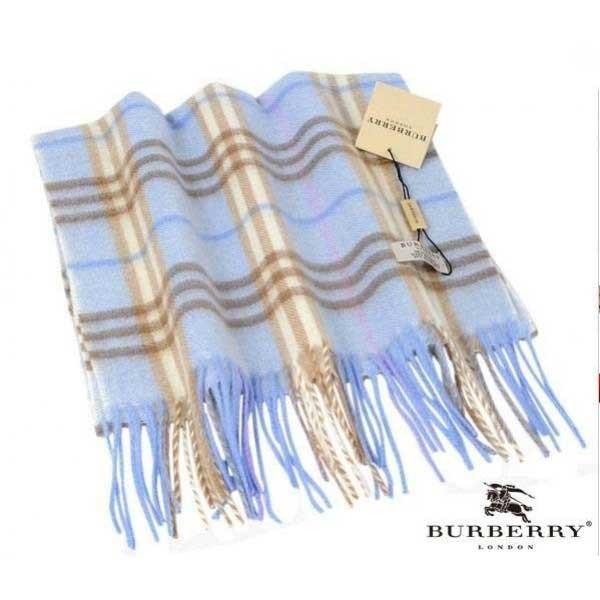 Burberry blue check cashmere scarf