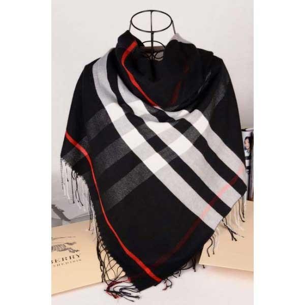 Burberry check wool silk black square scarf