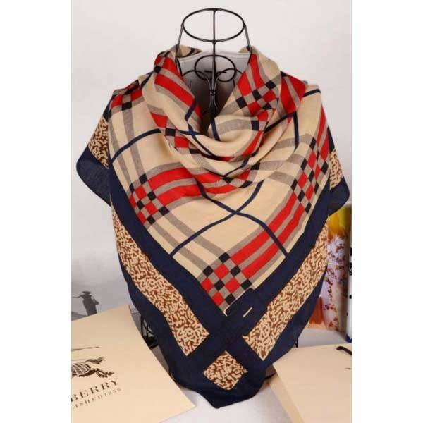 Burberry gold square check wool silk scarf stitched navy edges