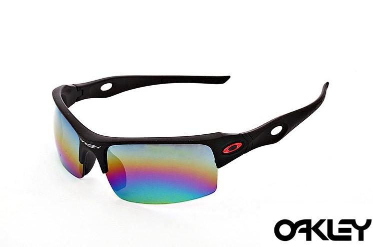 Oakley sunglasses in matte black and colorful iridium