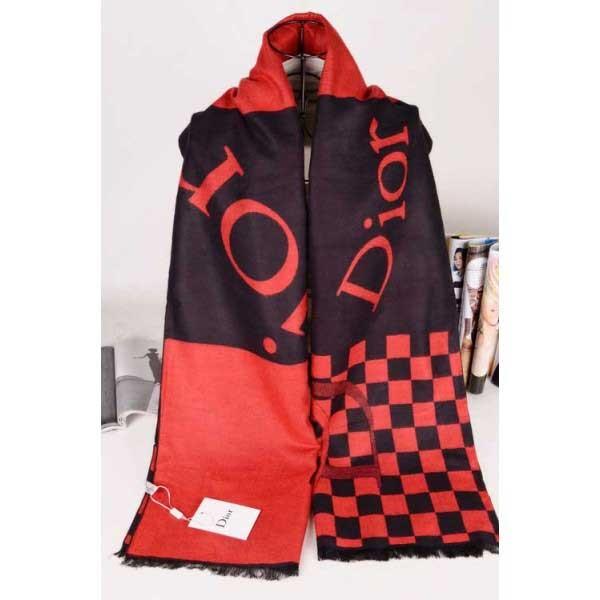 Dior wool scarf red / black plaid style
