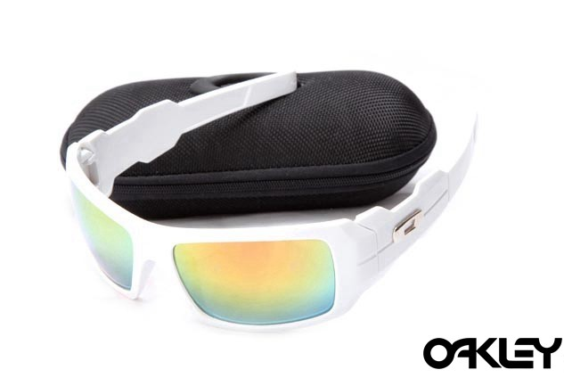 Oakley oil drum sunglasses in polished white and fire iridium sale