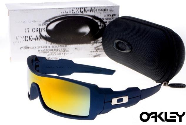 Oakley oil drum sunglasses in matte blue and ruby iridium