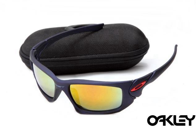 Oakley scalpel sunglasses in matte blue and fire iridium