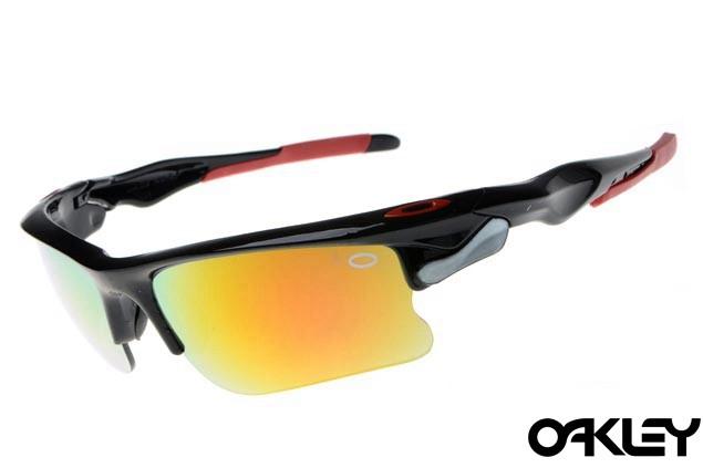 Oakley fast jacket sunglasses in polished black and fire iridium