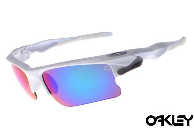 Oakley fast jacket sunglasses in polished white light grey and ice iridium
