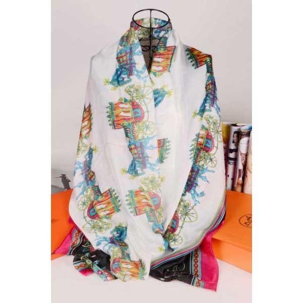 Hermes silk scarf white