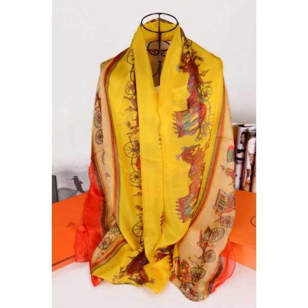 Hermes silk scarf yellow