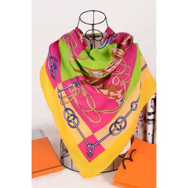 Hermes cotton silk square scarf pink