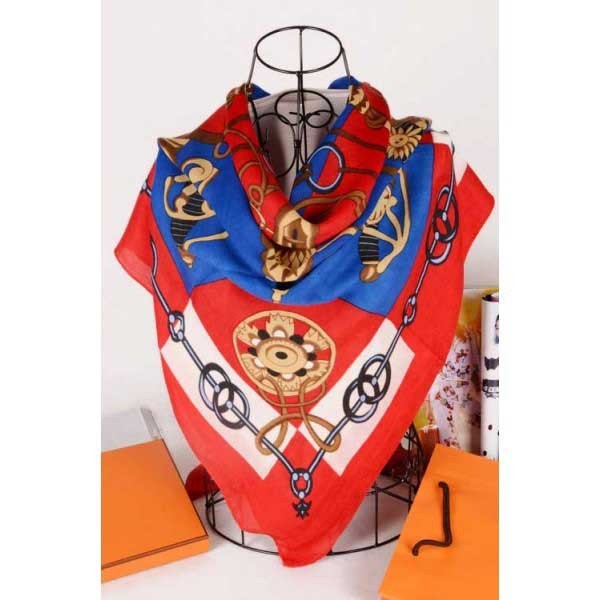 Hermes cotton silk square scarf red