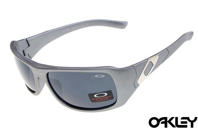 Oakley sideways sunglasses in polished grey and black iridium