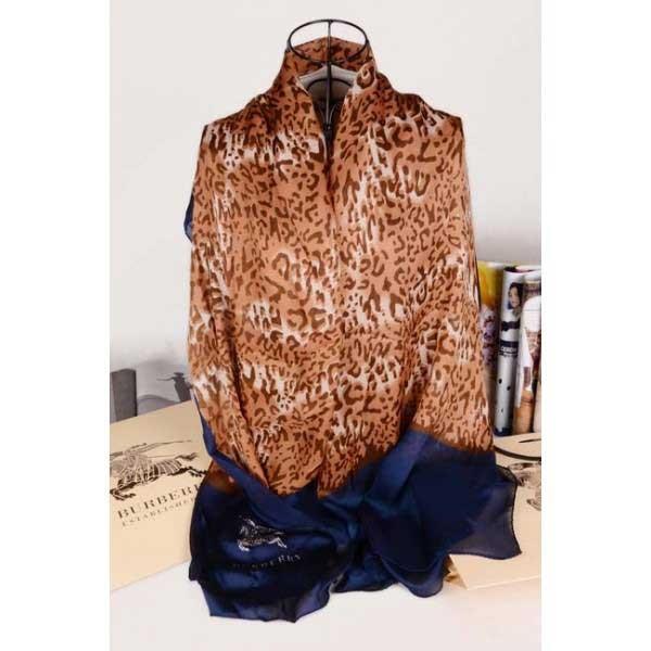 Burberry silk brown scarf with stitched dark blue edges