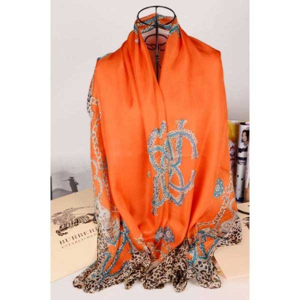 Burberry silk scarf orange with leopard grain stitched edges