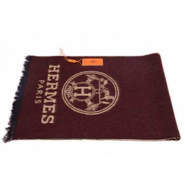 Hermes men wool scarf brown