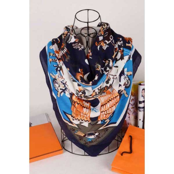 Hermes mythes silk square navy scarf