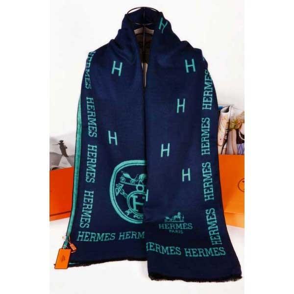 Hermes wool scarf navy color