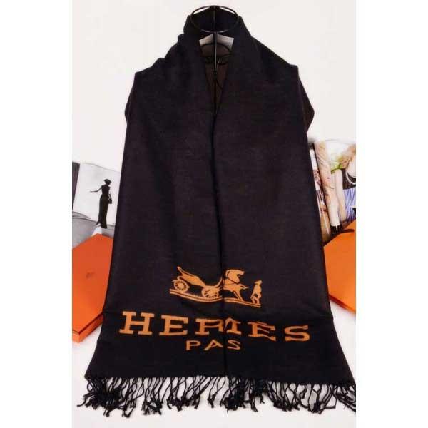 Hermes wool scarf black wiht golden Hermes logo