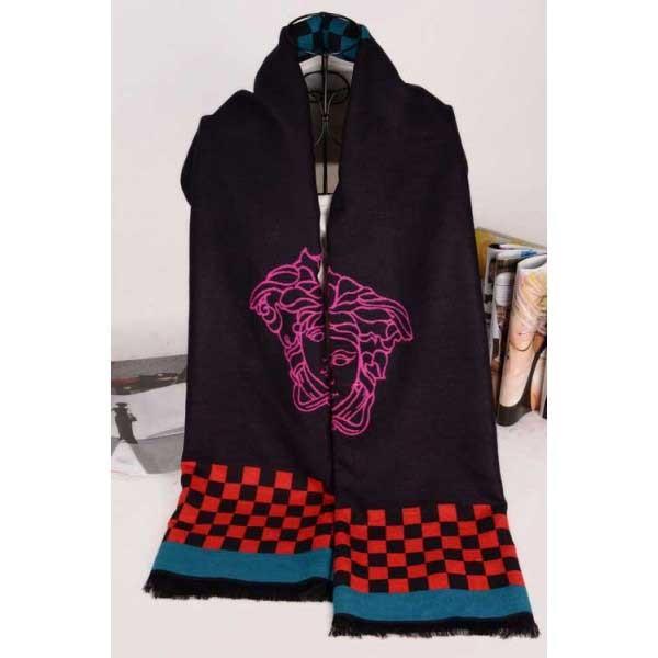 Versace wool black color scarf sale