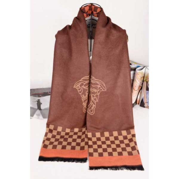 Versace wool brown color scarf with medusa logo
