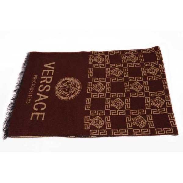 Versace wool men's scarf brown
