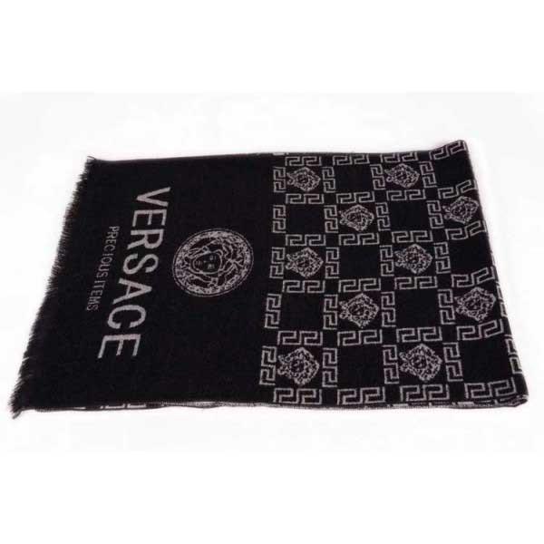 Versace wool men's scarf black with medusa logo
