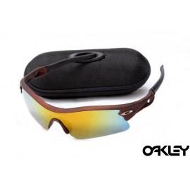 oakley radar path sunglasses in matte brown and fire iridium