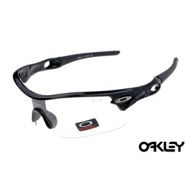 oakley radar pitch sunglasses in polished black and clear iridium