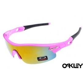 oakley radar pitch sunglasses in neon pink and fire iridium